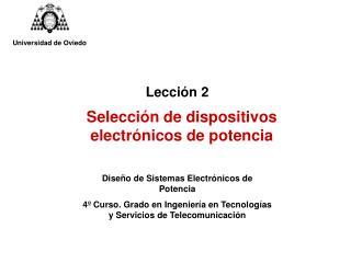 Selección de dispositivos electrónicos de potencia