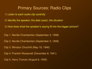 Primary Sources: Radio Clips