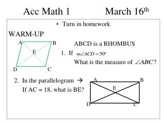 Acc Math 1	  		March 16 th