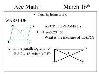 Acc Math 1  March 16 th