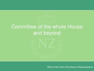 Committee of the whole House and beyond