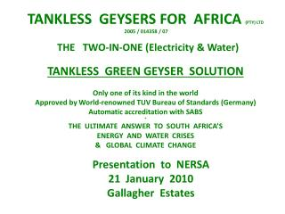 Presentation  to  NERSA 21  January  2010 Gallagher  Estates