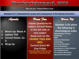 Warm Up: Week 4 Update TOC Cornell  Notes: 11-5 Wrap Up
