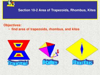 Section 10-2 Area of Trapezoids, Rhombus, Kites