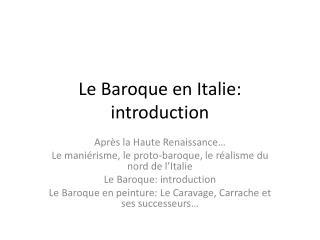 Le Baroque en Italie : introduction