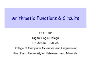 Arithmetic Functions & Circuits
