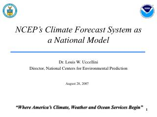 NCEP's Climate Forecast System as a National Model