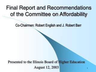 Final Report and Recommendations  of the Committee on Affordability