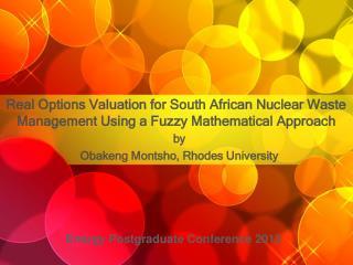 by Obakeng Montsho, Rhodes University