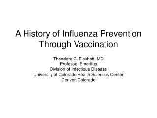 A History of Influenza Prevention Through Vaccination