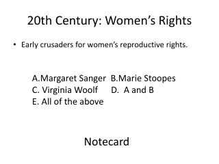 20th Century: Women's Rights
