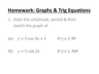 Homework: Graphs & Trig Equations