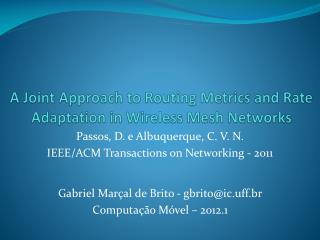 A Joint Approach to Routing Metrics and Rate Adaptation in Wireless Mesh Networks