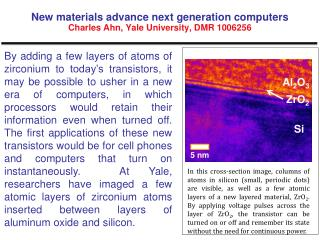 New materials advance next generation computers Charles Ahn, Yale University, DMR 1006256