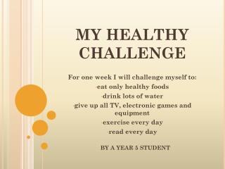 MY HEALTHY CHALLENGE