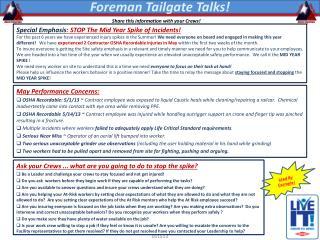 Foreman Tailgate Talks!