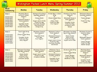 Wokingham Packed Lunch Menu Spring/Summer 2012