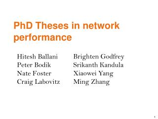 PhD Theses in network performance
