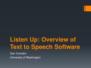 Listen Up: Overview of Text to Speech  Software