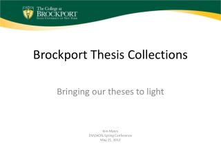 Brockport Thesis Collections