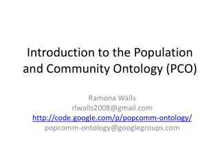 Introduction to the Population and Community Ontology (PCO)