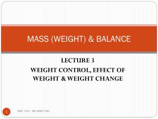 MASS (WEIGHT) & BALANCE
