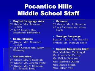 Pocantico Hills  Middle School Staff