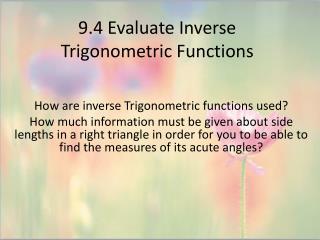 9.4 Evaluate Inverse Trigonometric Functions