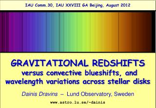 GRAVITATIONAL REDSHIFTS