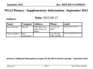 WG11 Plenary - Supplementary Information - September 2012