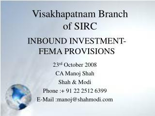 INBOUND INVESTMENT- FEMA PROVISIONS