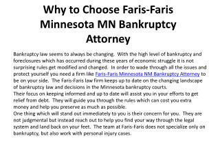 Why to Choose Faris-Faris Minnesota MN Bankruptcy Attorney