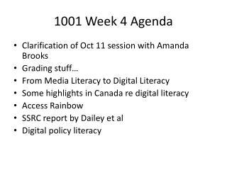 1001 Week 4 Agenda