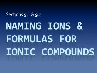 Naming IONS & formulas for Ionic Compounds