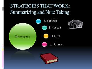 STRATEGIES THAT WORK: Summarizing and Note Taking