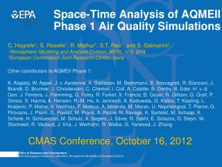 Space-Time Analysis of AQMEII Phase 1 Air Quality Simulations
