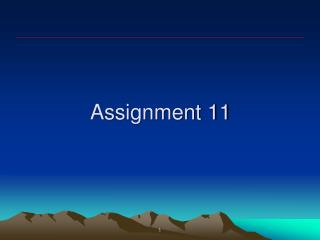 Assignment 11
