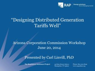 """Designing Distributed Generation Tariffs Well"""