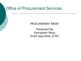 Office of Procurement Services