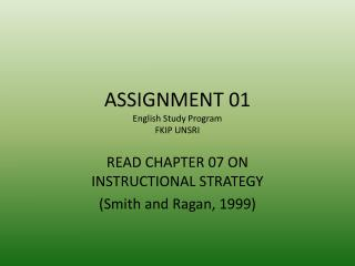 ASSIGNMENT 01 English Study Program FKIP UNSRI