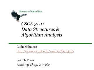 CSCE 3110 Data Structures &  Algorithm Analysis