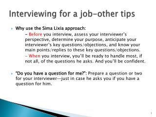 Interviewing for a job-other tips