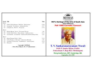 MIT's Heritage of the Arts of South Asia mithas Fall 1998 Carnatic Concert