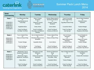 Summer Pack Lunch Menu 2014