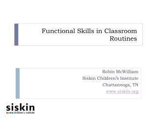 Functional Skills in Classroom Routines