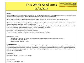 This Week At  Allsorts 03/03/2014