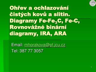 Email:  mhorakova @ pf.jcu.cz Tel: 387 77 3057