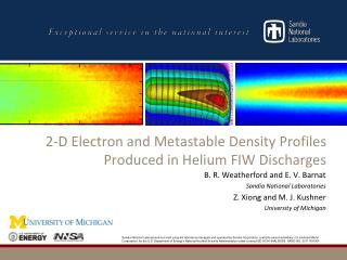 2-D Electron and Metastable Density Profiles Produced in Helium FIW Discharges