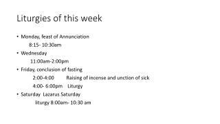 Liturgies of this week