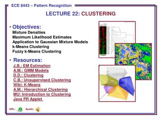 LECTURE  22:  CLUSTERING